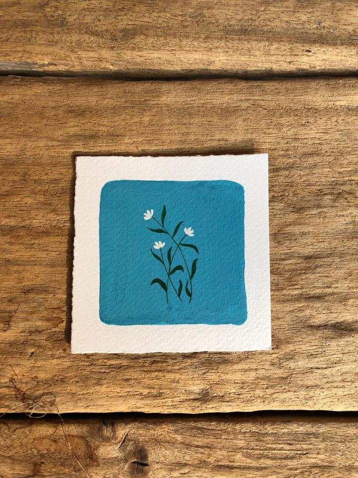 Process video of painting – three White flowers