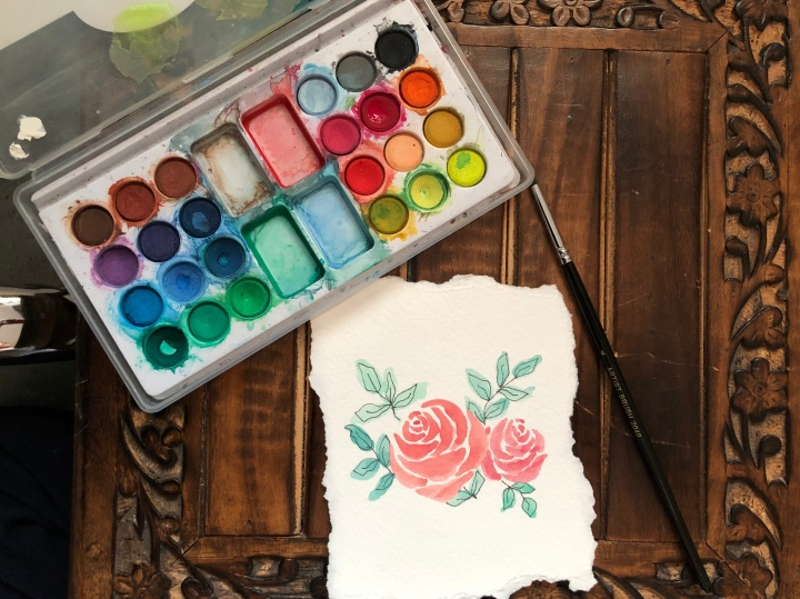 Easy watercolor rosepainting
