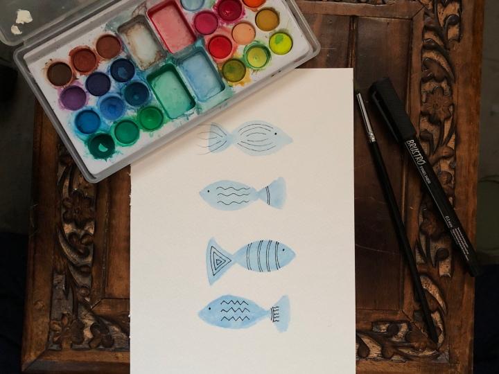Easy watercolor fishpainting